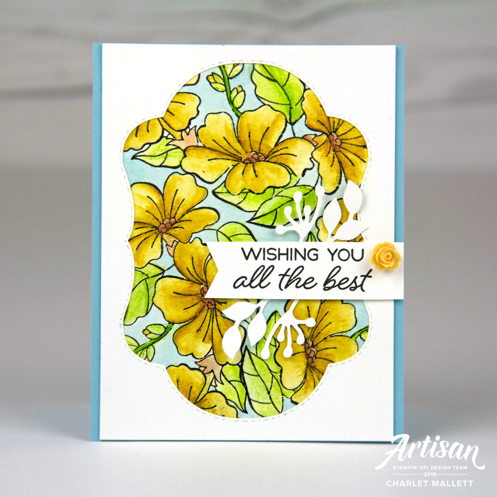 Wishing You All The Best -Blended Seasons card using Watercolor pencils. Charlet Mallett - Stampin' Up!