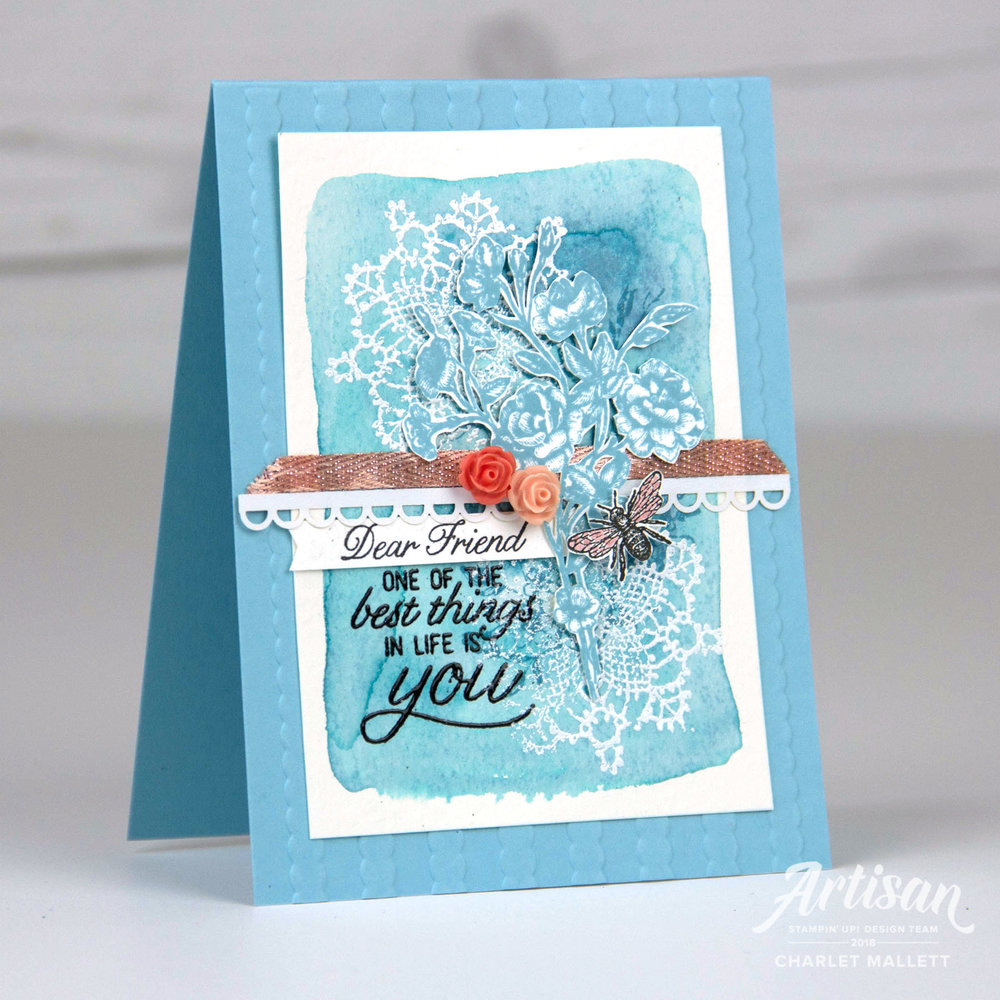 Dear Friend handmade card using the Very Vintage Host stamp set from Stampin' Up! - Charlet Mallett