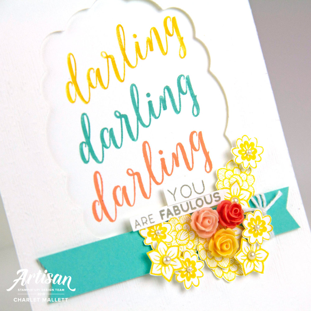 Darling card using the Stitched All Around bundle - Charlet Mallett, Stampin' Up!