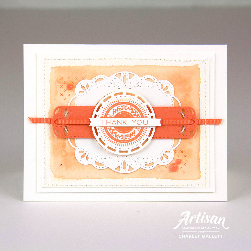 Thank You card in Grapefruit Grove using the Stitched All Around bundle - Charlet Mallett, Stampin' Up!
