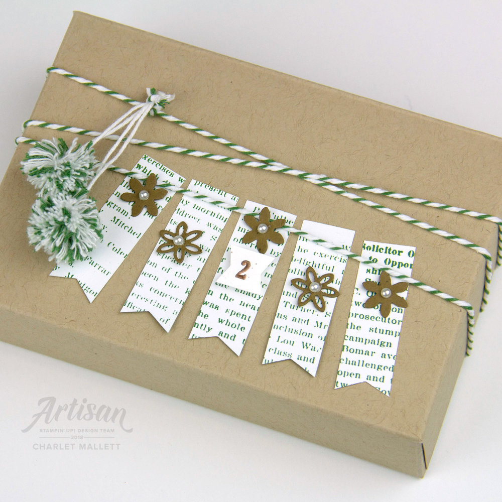 Gift Box using Dashing Along papers #2 - Charlet Mallett, Stampin' Up!