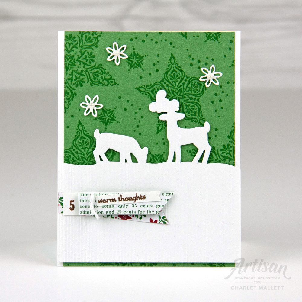 Dashing Deer Card &Dashing Along papers #5 - Charlet Mallett, Stampin' Up!