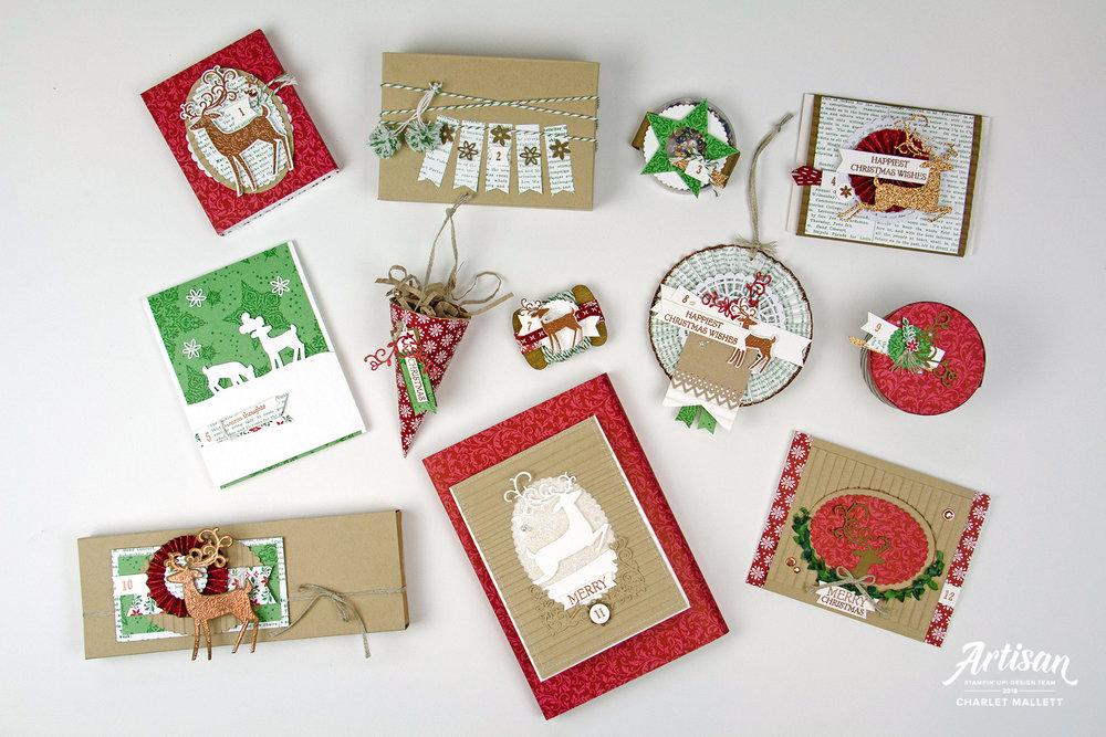 12 Days of Craftmas using Dashing Deer &Dashing Along papers - Charlet Mallett, Stampin' Up!