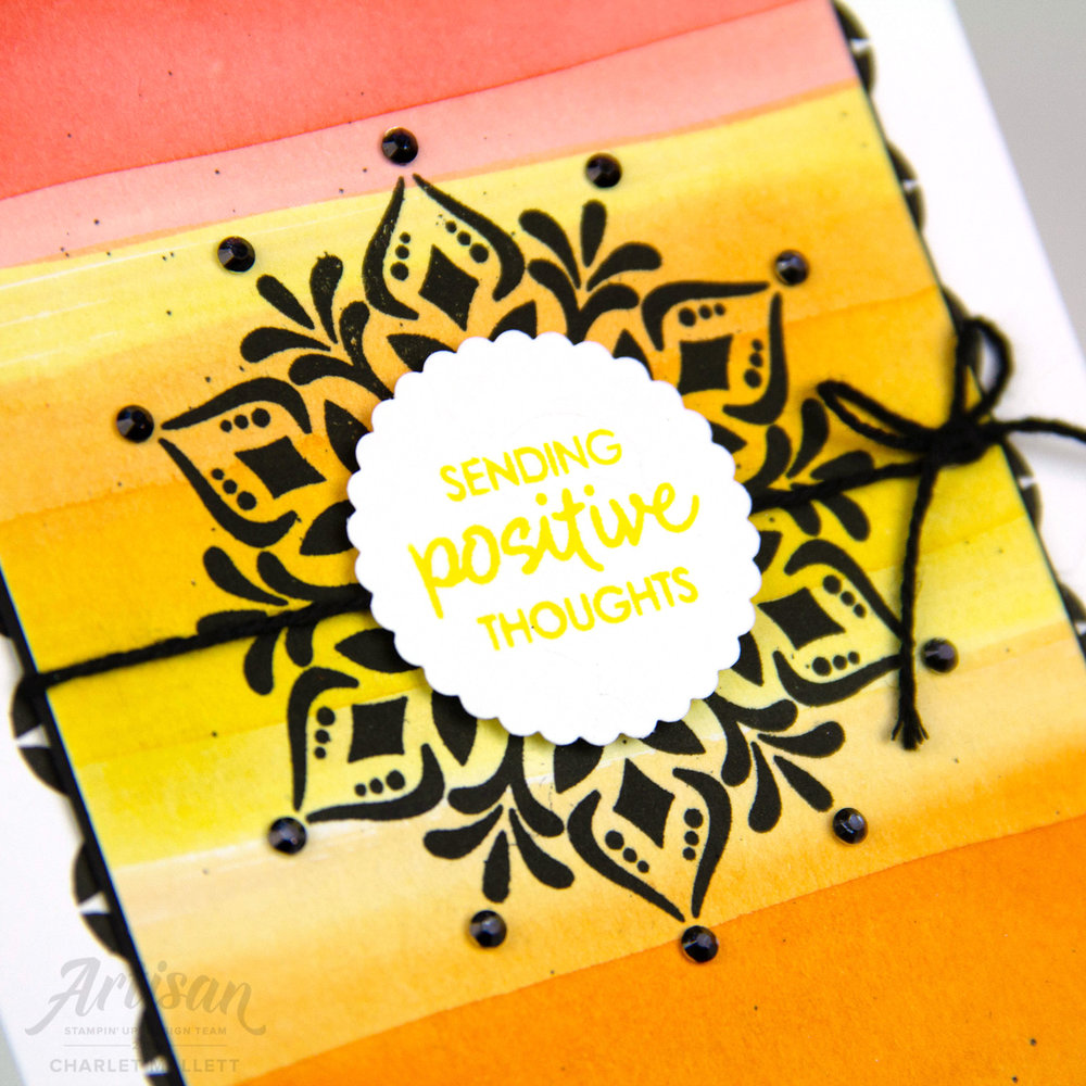 Positive Vibes card using the Happiness Surrounds stamp set. Charlet Mallett - Stampin' Up! 2018 Artisan Design Team
