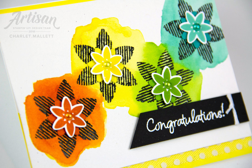 Congratulations card using the Happiness Surrounds stamp set. Charlet Mallett - Stampin' Up! 2018 Artisan Design Team