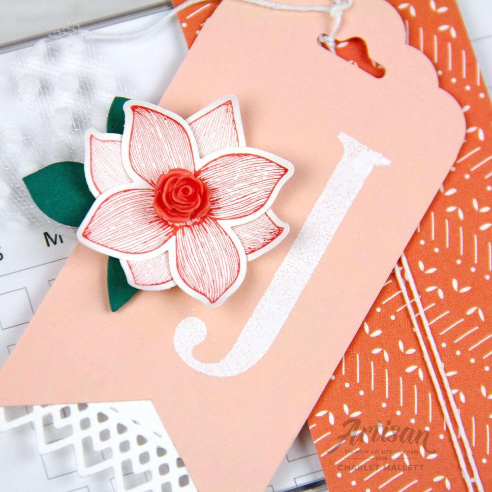 Custom monogrammed gift tag - Charlet Mallett, Stampin' Up!