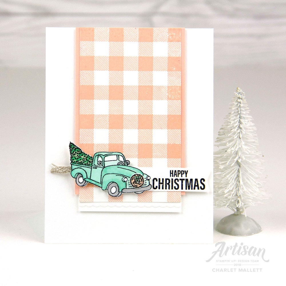 Farmhouse Christmas Pool Party pickup truck - Charlet Mallett, Stampin' Up!