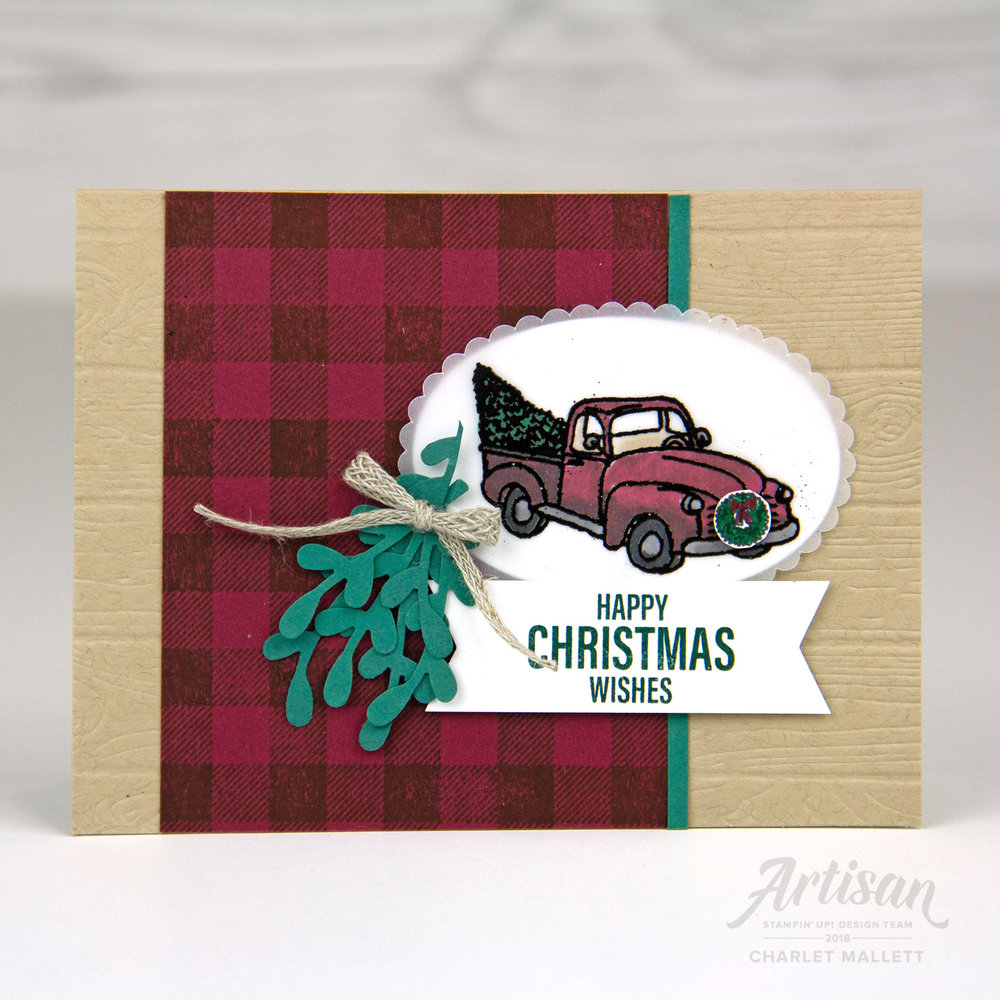 Farmhouse Christmas pickup truck - Charlet Mallett, Stampin' Up!