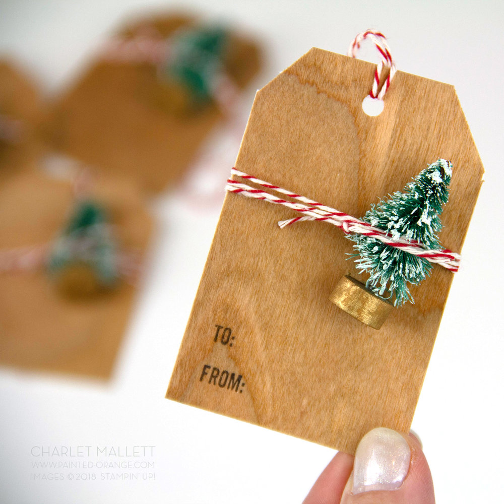 Wood Paper Bottle Brush Tree gift tags - Charlet Mallett