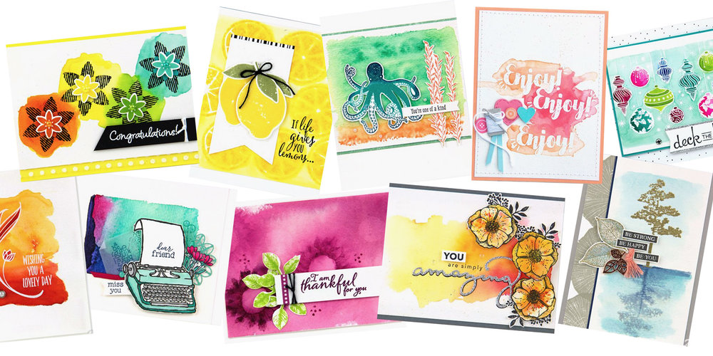Here are a few fun cards I've created over the years using various watercolor techniques. Made by Charlet Mallett - Stampin' Up!