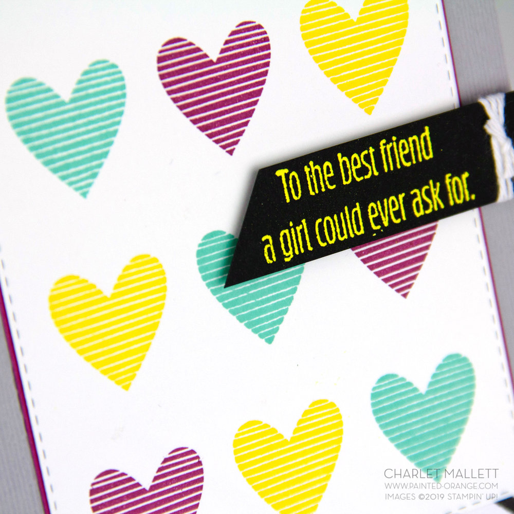 Meant to Be - Repeating Heart card. Charlet Mallett, Stampin' Up!