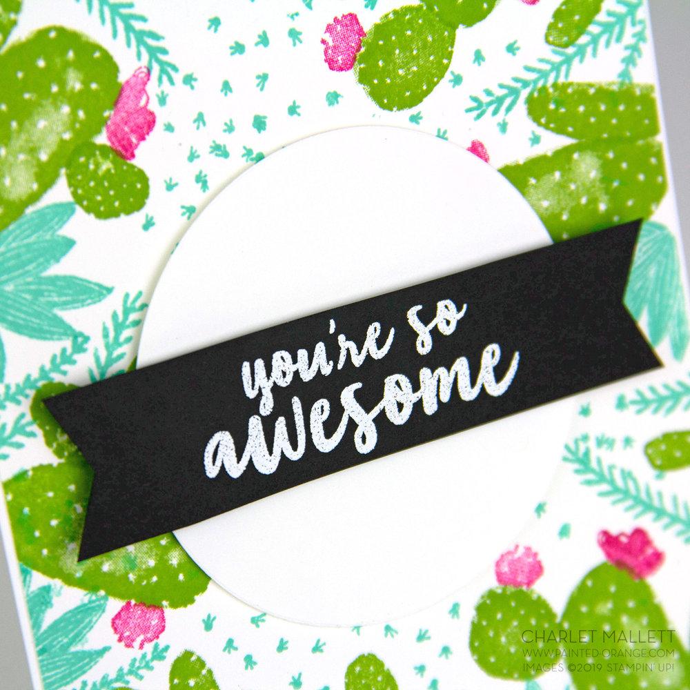 Flowering Desert cactus card - Charlet Mallett, Stampin' Up!