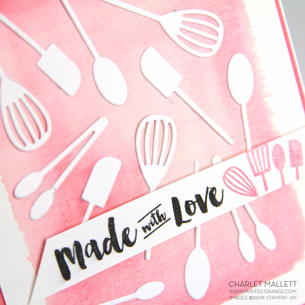 Apron of Love (Made with Love) kitchen utensil card. - Charlet Mallett, Stampin' Up!