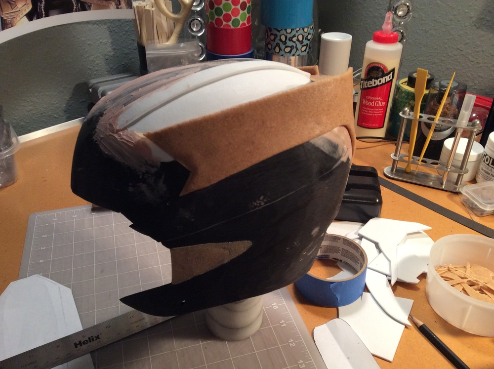 I used the craft foam and Worbla sandwich technique for this edge profile piece. I attached it to the helmet with 5 min epoxy.
