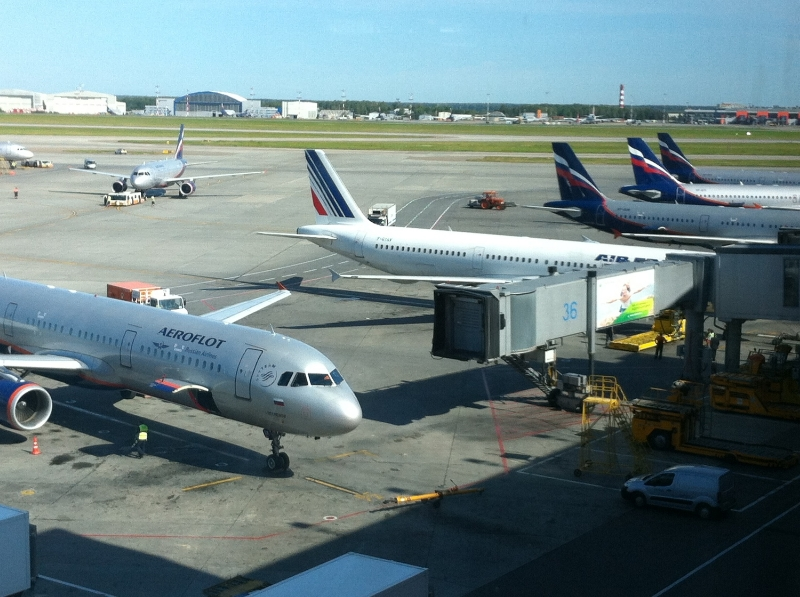 Planes lined up at Moscow's Sheremetyevo Airport