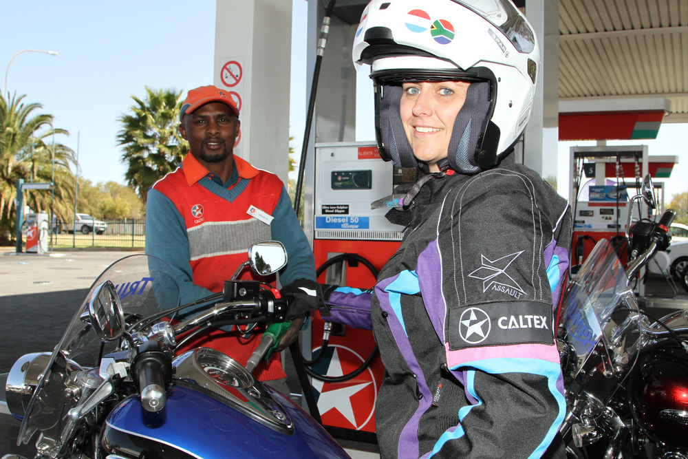 Angele during a fuel stop during the 2013 ride