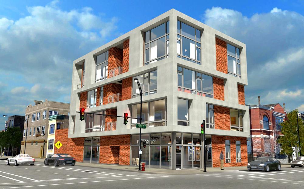 1000 North Damen Chicago Exterior Render TARIS Real Estate