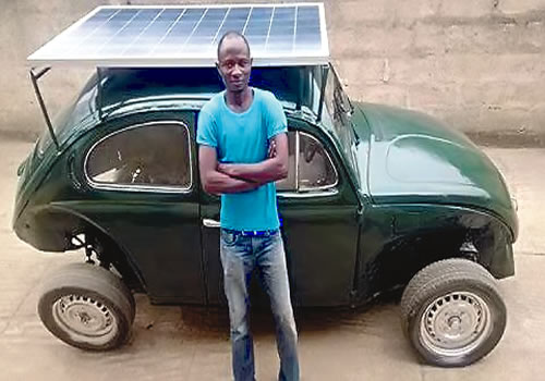 Segun Oyeyiola: A final year student at Obafemi Awolowo University (O.A.U), Segun has captured the imagination of many with his solar powered car. Motivated by his concerns about climate change he set about creating a car that would run on wind and solar energy suited for the African environment. He believes with the right support it will be the future car of Nigeria and Africa at large.