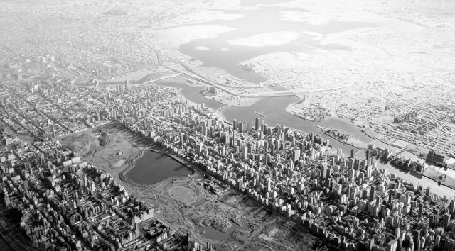 Panorama of the City of New York, a scale model of NYC conceived by Moses to celebrate municipal infrastructure. Photo of the model by Joshua Frankel.