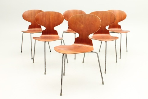 arne jacobsen furniture. 6 Teak Ant Chairs / FH3100 By Arne Jacobsen + Fritz Hansen Furniture