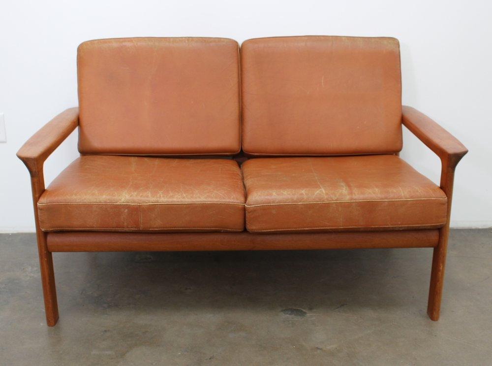 Cognac Leather Sofa/Loveseat With Teak Frame, Scandinavian Modern, 1970
