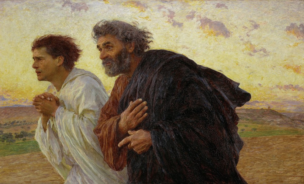 """The Disciples Peter and John Running to the Sepulchre on the Morning of the Resurrection"" by Eugene Burnand (1898)"