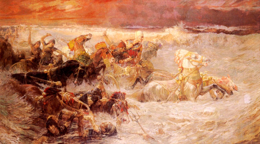 Pharaoh's Army Engulfed by the Red Sea  by Frederick Arthur Bridgman (1900)
