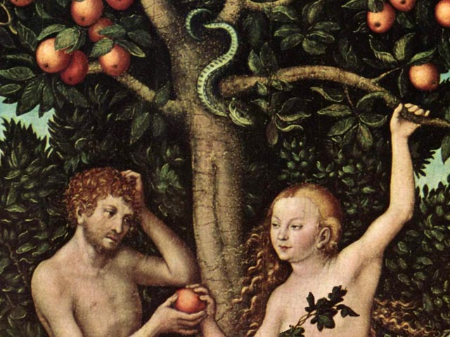 Detail of Adam and Eve by Lucas Cranach (1533)