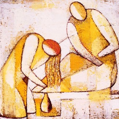 Mary Washes Jesus' Feet by Soichi Watanabe