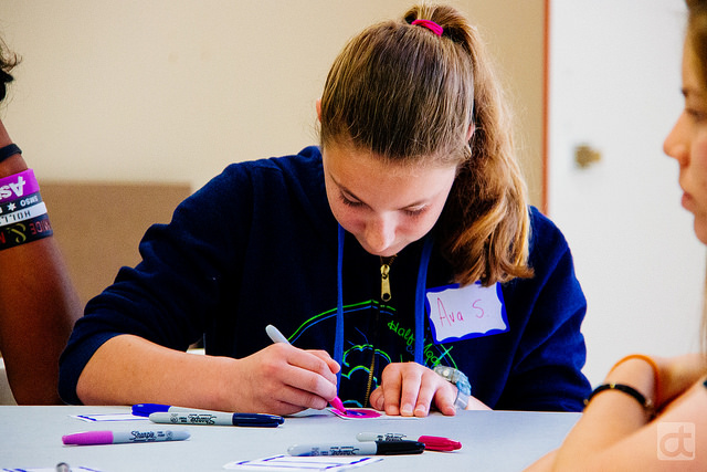 Founding d.tech 9th grade student at one of our Design Thinking sessions. Photo credit: Kerry Bitner