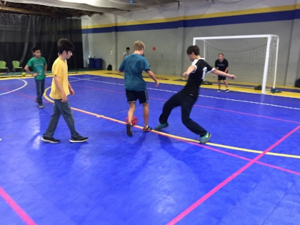Warm-up for Futsal at the Burlingamer Sports Center