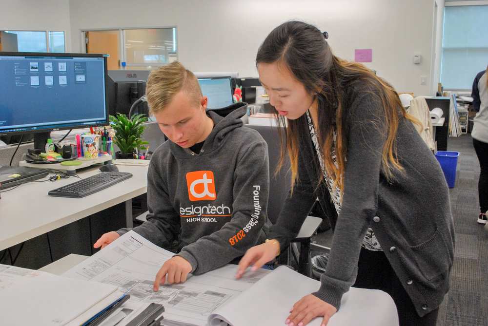 Photo by  DES A+E : d.tech students helping to design campus buildings. At the 2017 Structures Awards, Design Tech High School was announced as the People's Choice and the Best Education Project by the Silicon Valley Business Journal.