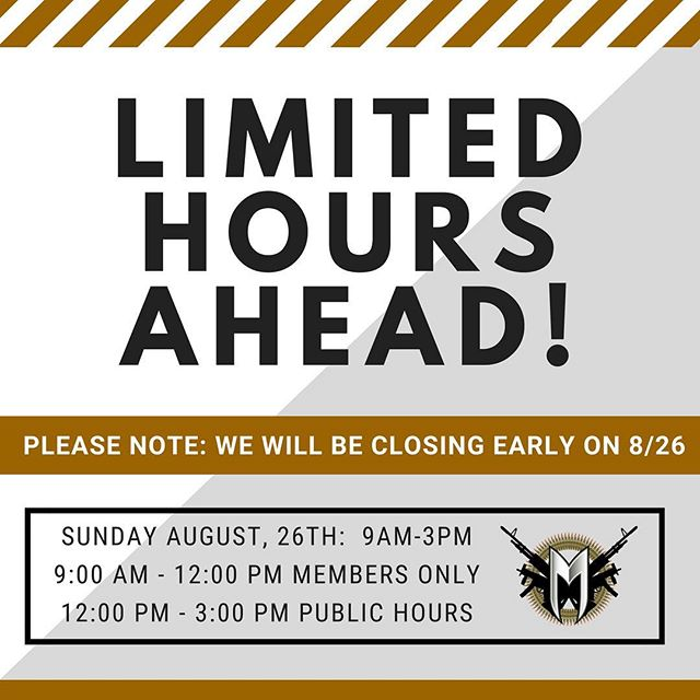 Heads up! We will be closing EARLY at 3:00 PM on Sunday August 26th. Member only hours remain from 9AM to 12 Noon, and Public hours will go from Noon to 3 PM. Thanks!