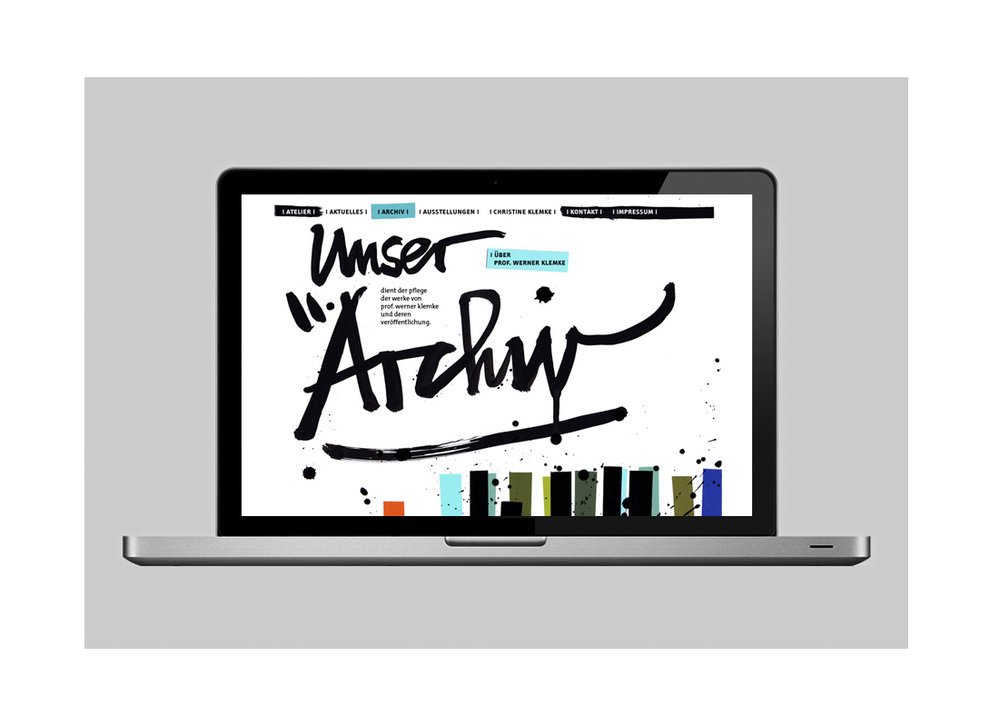 "calligraphy & illustration & website concept of the website of ""Atelier & Archiv Professor Werner Klemke"" (2010)"