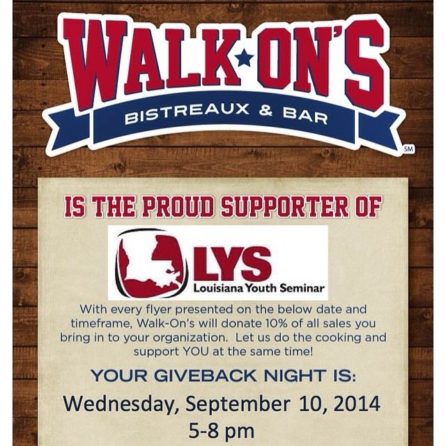 Join as at Walk On's on Burbank Drive in Baton Rouge on Wednesday, September 10 from 5-8pm! Just bring in the flyer posted on our Facebook page, and 10% of your purchase will go to LYS! Thank you @walkons! #nomanisanisland #NMIAI