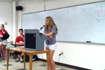 Jacki, a Deer Park delegate, practices her public speaking in what LYS deems a very safe and supportive environment