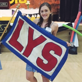 Emily Seabaugh with the LYS Flag