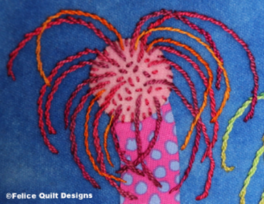 The Stem Stitch is used to create the anemone fingers.