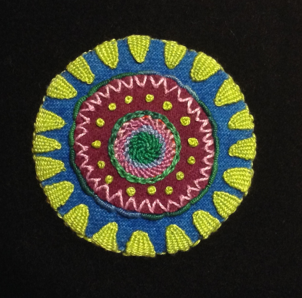 The Woven Picots are the triangular stitches on the edge of the circle.