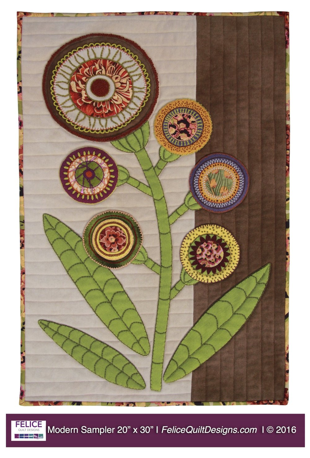 The Modern Sampler is an Intermediate Class for those that have some experience with basic wool applique.