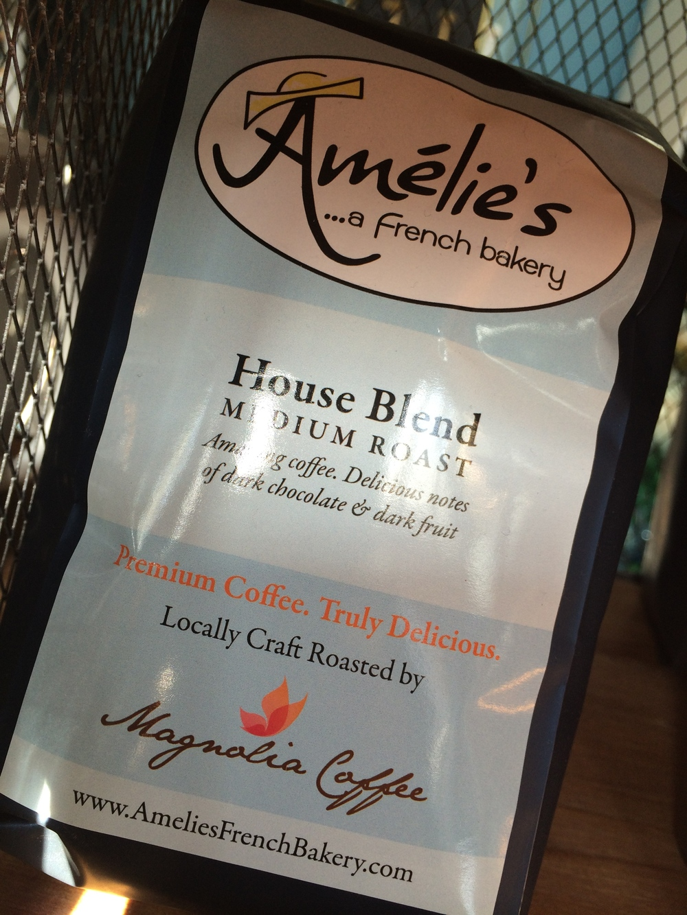 1.  Amelie's uses local roaster Magnolia in this custom packaged presentation.