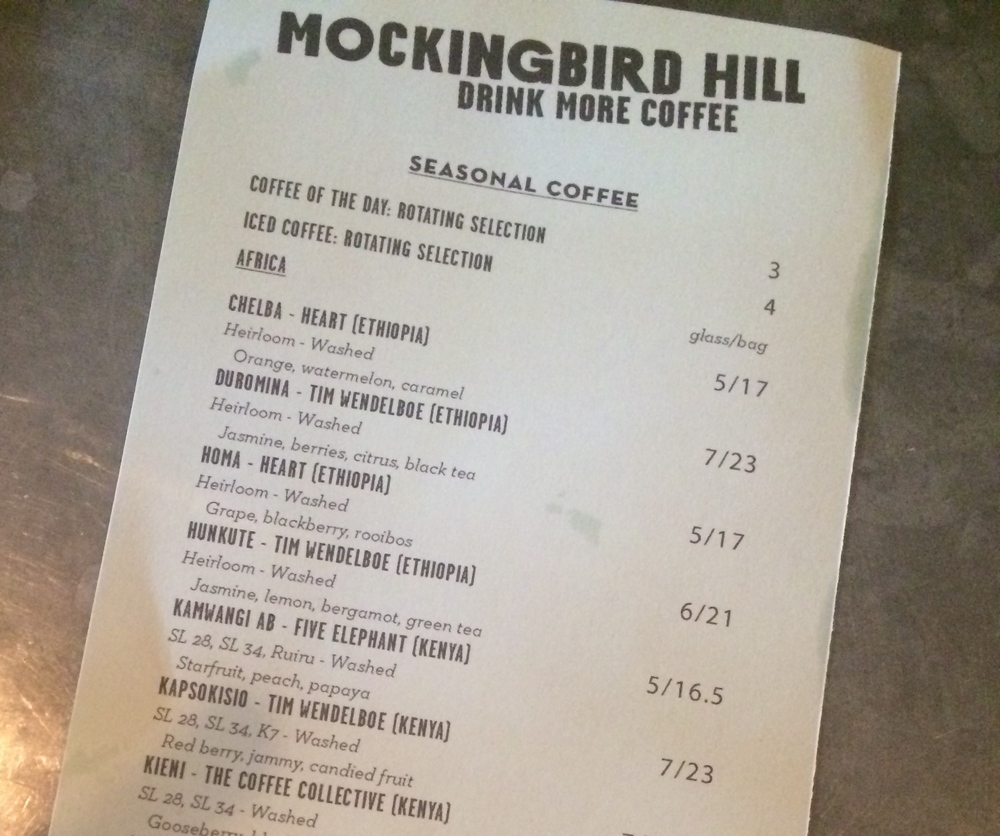 2.  This is the coffee menu at Mockingbird Hill.  Just take a look at those purveyors!  Wendelboe.  Heart.  Collective.  Elephant.  This is literally an all star list of some of the most noteworthy roasters in the world.