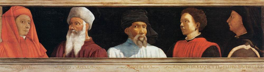 """ Five Famous Men "" by Paolo Uccello.  The lone image we have of Donatello survives in this painting by his friend Paolo Uccello. Donatello is featured in the center between Giotto, Uccello, Brunelleschi, and Manetti."