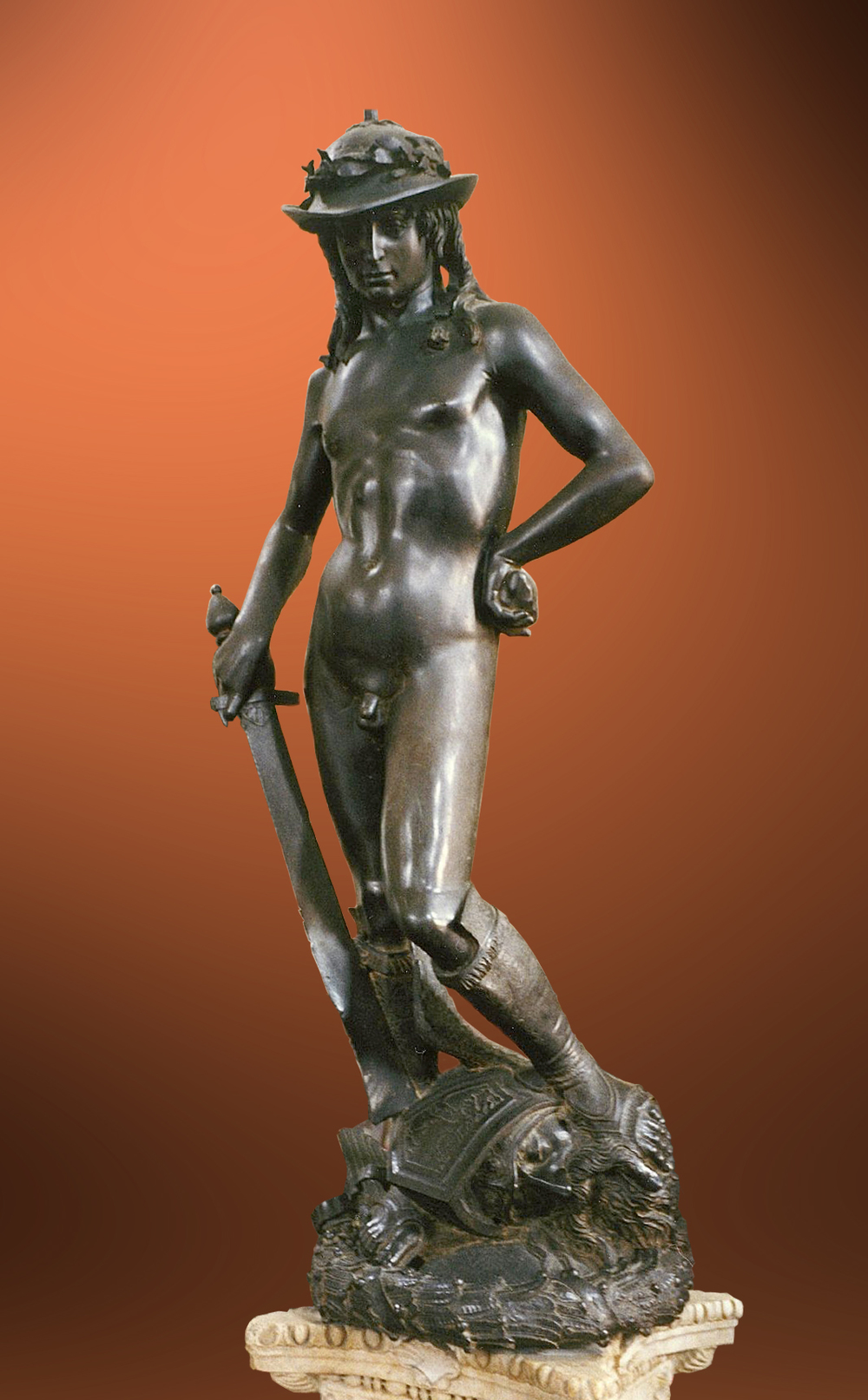 """ David "" by Donatello, 1430-1432.  This piece is that it's the first free standing nude since classical antiquity. David was an important symbol for the Republic of Florence."