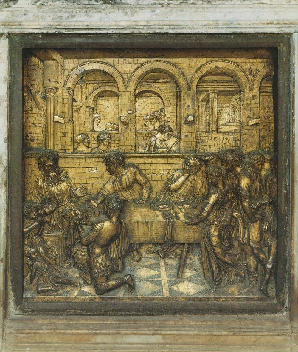 """The Feast of Herod"" 1423-25, bronze relief."