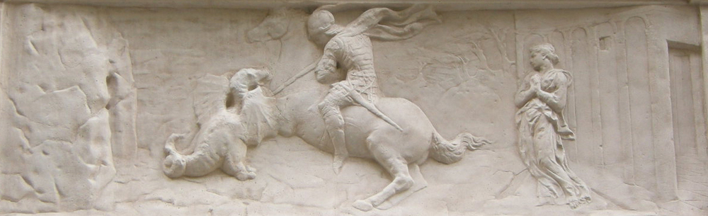 """St. George and the Dragon"" marble relief, 1415-1417.  This piece shows Donatello's use of rilievo schiacciato (flattened relief), a technique that he developed a lot."
