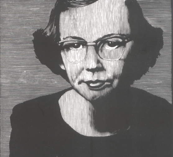 Barry Moser  ,   Flannery O'Connor   (detail). Wood engraving.   See the original at   moser-pennyroyal.com  .