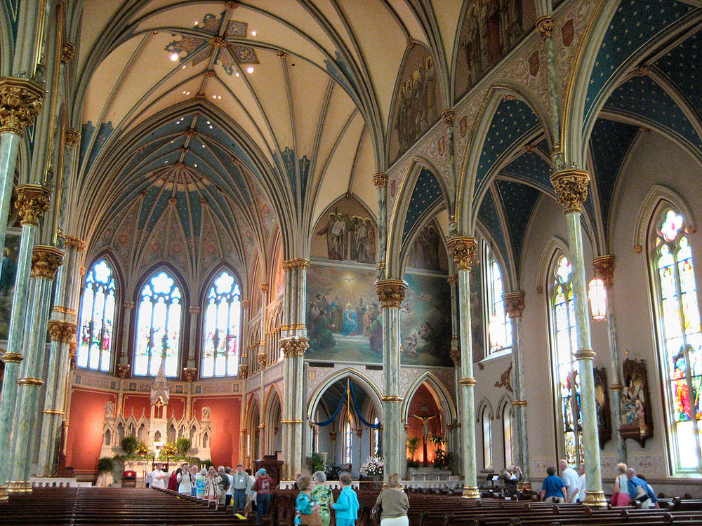 This is the Cathedral of Saint John the Baptist in Savannah, Georgia. Flannery O'Connor grew up just a block away from here and regularly attended mass here with her parents.