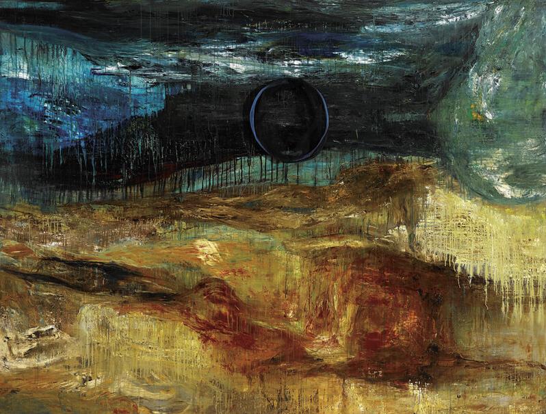 〈幽暗大地〉, 1996, 壓克力顏料、畫布, 173×229cm