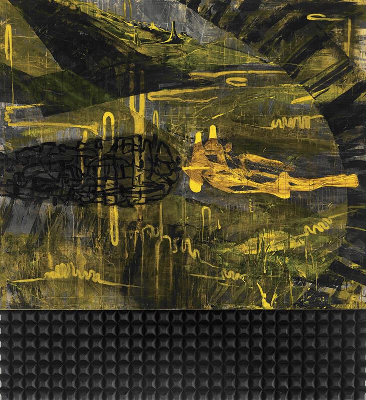 〈流動符碼〉, 2004, 壓克力顏料、畫布、木塊、三夾板, 185×173CM (Diptych)